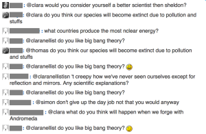 One student was particularly keen on finding out my views on The Big Bang Theory!