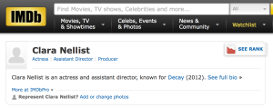 A screenshot from my IMDb page.
