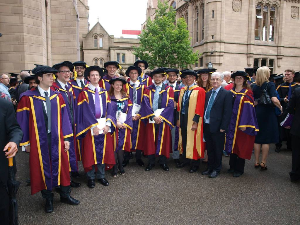 PhD graduates in Physics, University of Manchester, 2014. Photo credit E.H.Maclean.