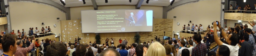 Standing ovation for the announcement of a boson consistent with the Higgs! July 2012.