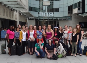Ready to go into the BBC to record our radio shows!