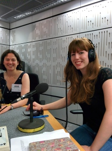 Presenter Clara Nellist with expert guest, Esther Robinson, ready to record our radio show at the BBC!