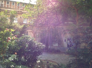 Courtyard from the final day of the Higgs Hunting Conference