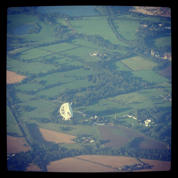 Jodrell Bank from above. Taken July 2013.