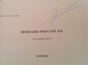 Signed copy of the Séminaire Poincaré papers by Prof. Englert.